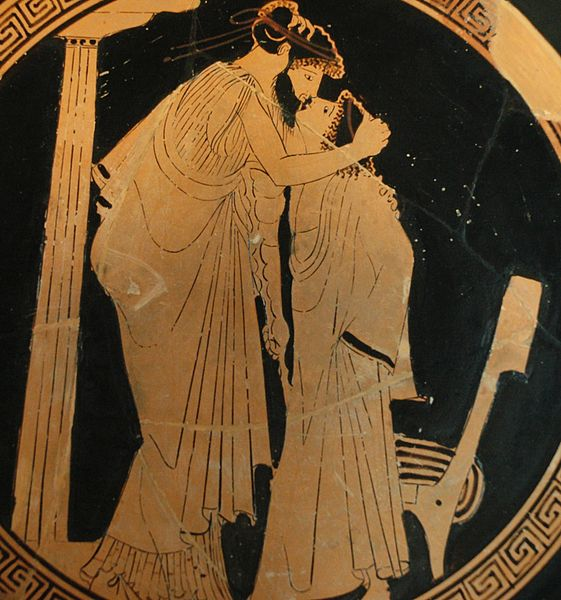 Erastes (lover) and eromenos (beloved) kissing. Detail from the tondo of a red-figure Attic cup, ca. 480 BC.