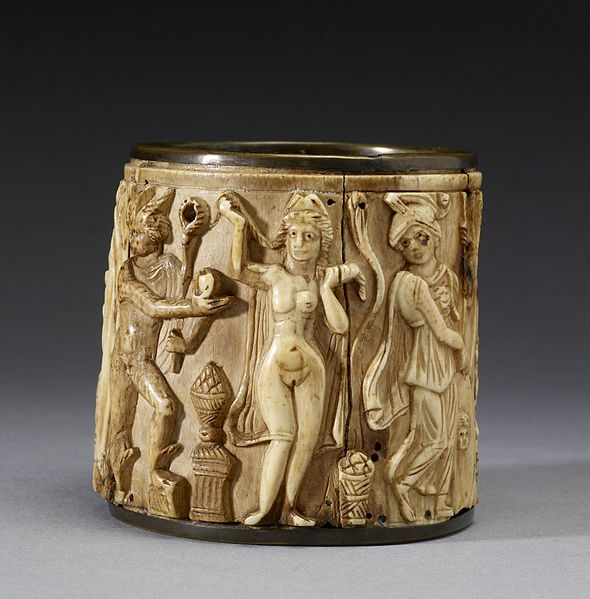 Hermes is awarding the apple to Aphrodite, whom he chose over Athena and Hera (shown to her sides) as the most beautiful among goddesses.